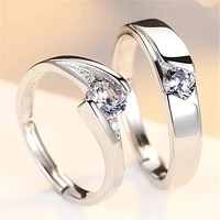 wedding couple rings austrian rhinestone inlaid ring new fashion metal opening adjustable ring accessories party jewelry