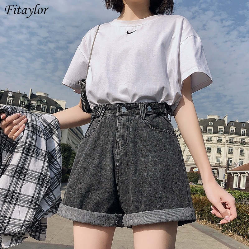 FTLZZ New Summer Women High Waist Button Wigh Leg Jeans Shorts Casual Female Loose Fit Blue Denim Shorts