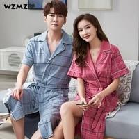 100 cotton kimono robes for women summer thin bathrobe couples fashion plaid pijama female comfort sleepwear dresses nightwear