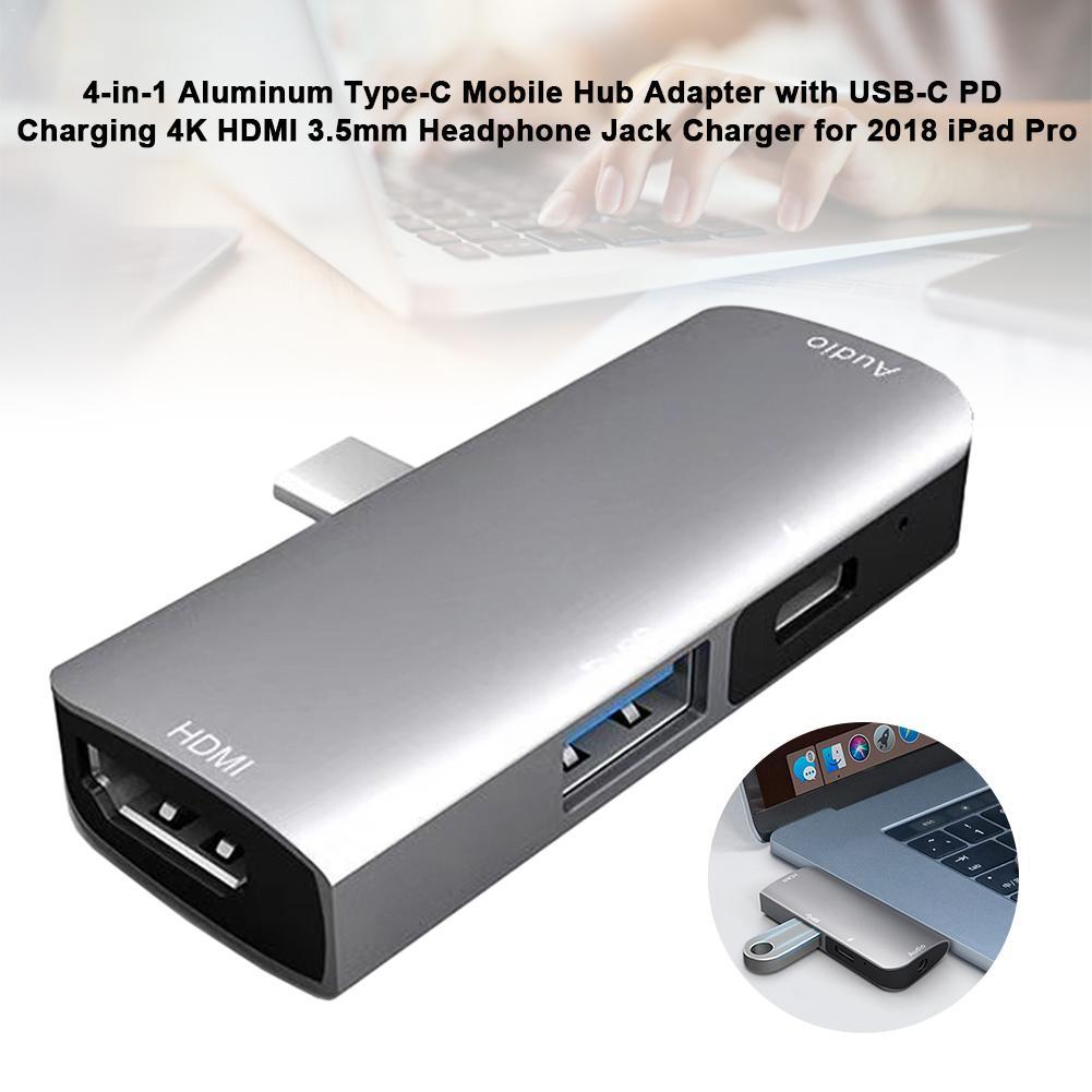 Adaptador Hub móvil 4 en 1, tipo de aluminio C, con carga USB-C PD 4K HDMI 3,5mm, cargador Jack para auriculares para iPad Pro 2020