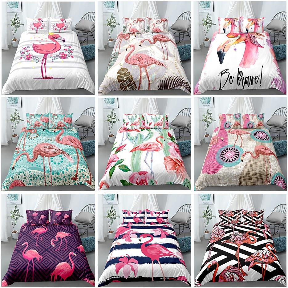 Cartoon Pink Flamingo Bedding Set 2/3pcs Geometric Pattern 3D Bed Duvet Cover Pillowcases Kids Comfortable Quilt Covers Sets