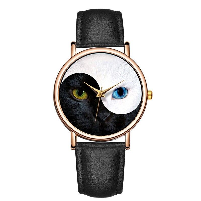 Women Watches Leather Band Cat Eyes Vintage Simple Ladies Quartz Wrist Watch Top Brand Luxury Fashion Clock Saat montre femme