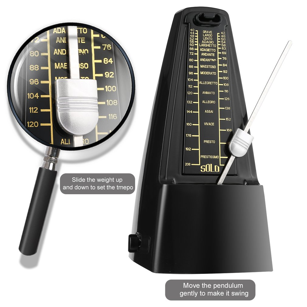 OUTAD Traditional Wind Up Mechanical Metronome for Piano Guitar Bass Drum Violin Musical Instruments Musicians enlarge