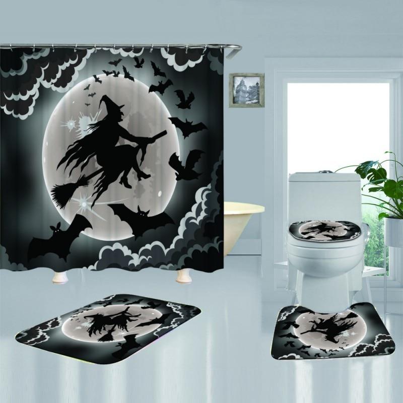 Cortina de ducha decorativa de calabaza de bruja feliz de Halloween, conjunto de alfombra de baño de tela impermeable de poliéster 180X180cm, cortina de baño