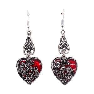 2021 New Bat Gothic Earrings Heart Shape Ears Jewelry Retro Heart Dangle Hook Earrings Novelty Headpiece Costume Accessories