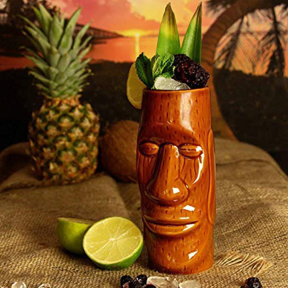 Vaso de cóctel exótico, de cerámica, para fiesta hawaiana, bar