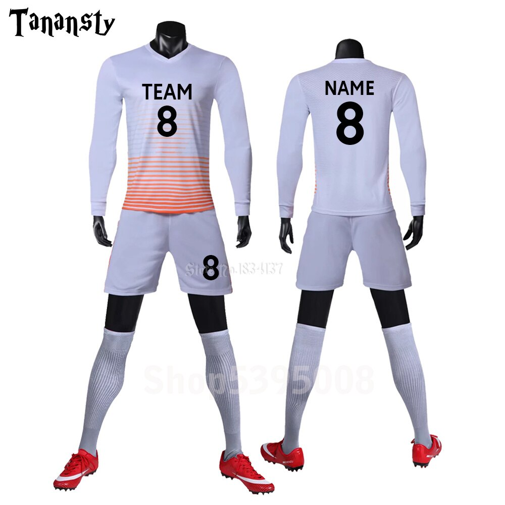 Camisetas de fútbol manga larga de los hombres de camisetas de fútbol uniformes de fútbol para jóvenes adultos de fútbol 2019 largo de 2020 Jersey de fútbol