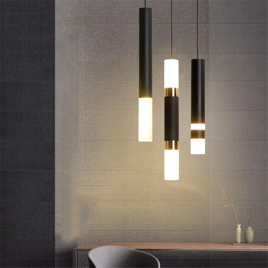 BEIAIDI الحديثة طويلة أنبوب LED قلادة ضوء الاكريليك المطبخ غرفة الطعام صالون مصباح معلق غرفة نوم السرير مصباح السقف