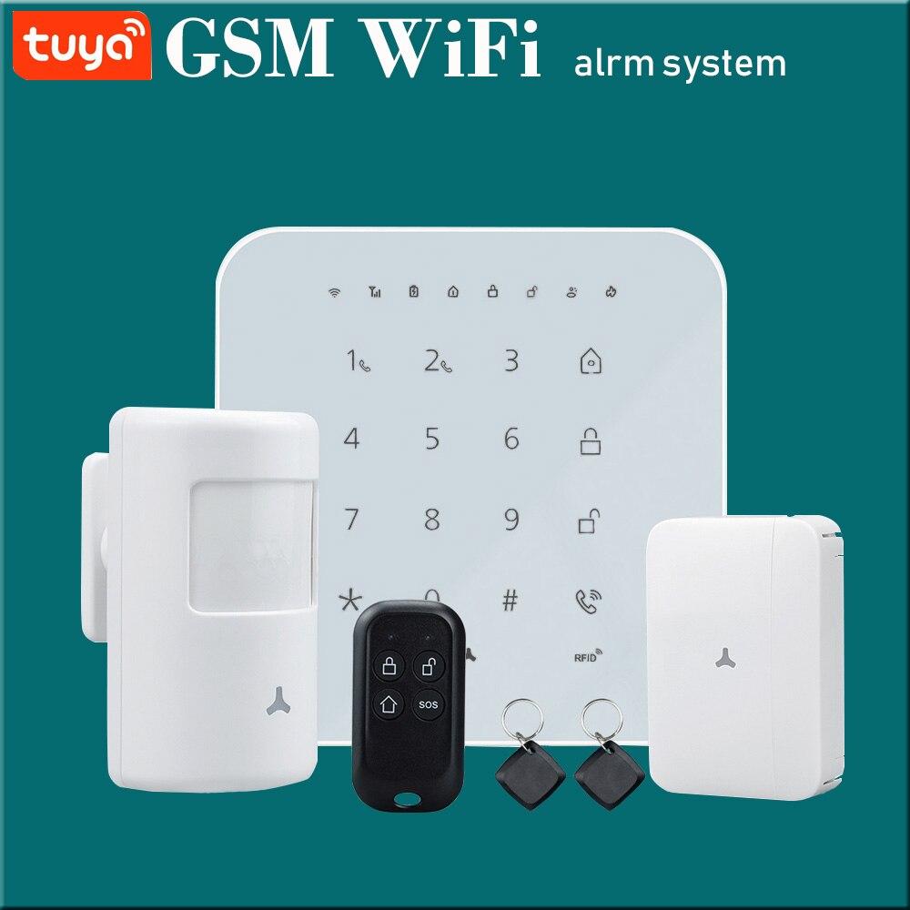 WIFI GSM inteligente sistema de alarma antirrobo para el hogar kit opcional Tuya smart life APP Control home Arm Disarm Can funciona con Alexa
