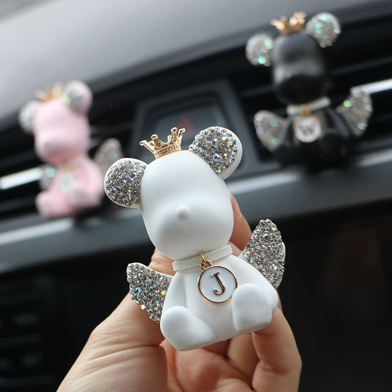Креативные автомобильные принадлежности, украшение для автомобиля с алмазной инкрустацией, с ароматом крыльев и медведей