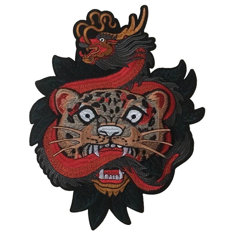 2019 novo dragão leopardo bordado ferro em remendos para roupas jaqueta grande animal appliqued bordado diy decoração 1 peça