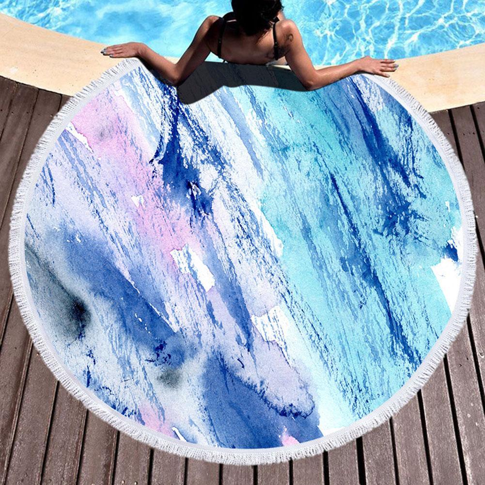 Moda Marbling estampado borlas verano al aire libre ronda playa toalla Mat alfombra chal