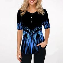Kobiety modny nadruk bluzki wokół szyi z krótkim rękawem bluzka w stylu boho koszule 2020 nowy letni kobiet dorywczo luźna koszula Plus rozmiar 5xl