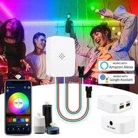 Controleur de Pixel Led intelligent Wifi 5-24V  pour WS2812b WS2811 bande de musique  commande vocale  fonctionne avec Google Assistant   Alexa   2 sorties