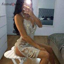 FestivalQueen brillant strass dos nu mini robe femmes 2018 sexy col en v profond plage discothèque fête club bling robes