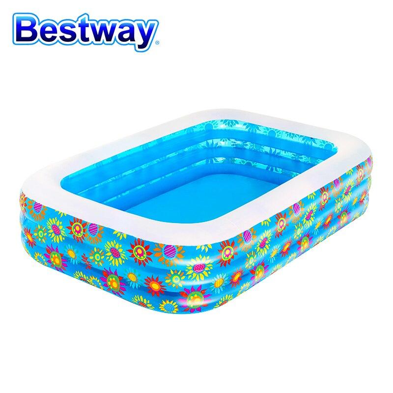 حمام سباحة قابل للنفخ بيستواي 54120 حلقتين نفاث للمعالجة المائية بحوض استحمام خارجي للأطفال 2.29 م X1.55M بيسيينا حمامات مستطيلة للطفل