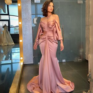 Thinyfull Sexy Prom Dresses 2021 Off Shoulder Satin Evening Dress Saudi Arabia Mermaid Long Sleeve Cocktail Party Gown Plus Size