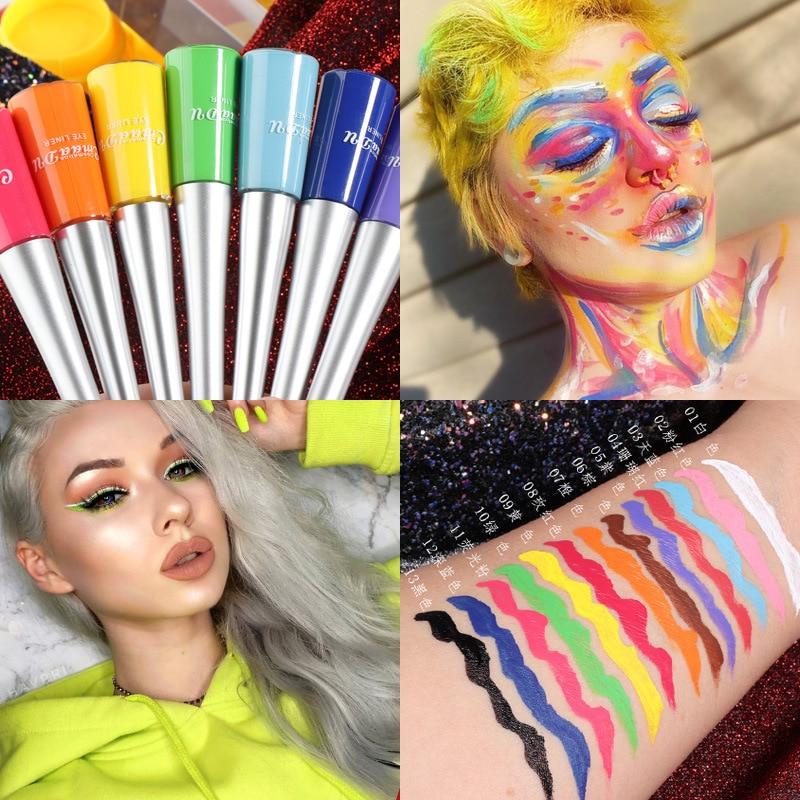 17 Colors Neon Liquid Eyeliner Pencil Waterproof Colorful Blue Green Yellow White Eye Liner Pen Women Makeup Eyes Cosmetics
