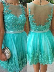 Mini Homecoming Dresses 2020 Lace Appliques Beaded Sashes Sheer O-Neck Knee Length Short Prom Party Gowns Cocktail Dress Cheap