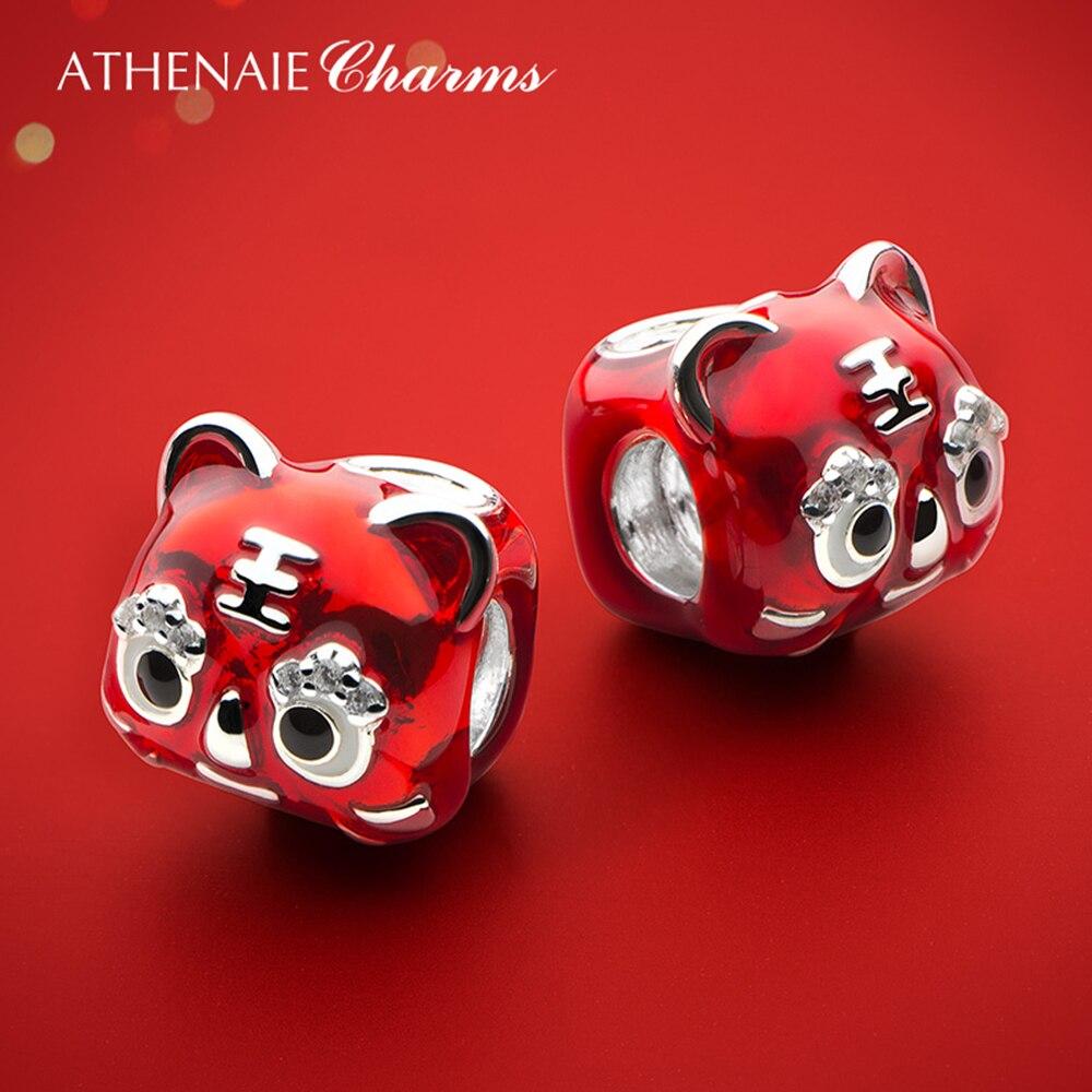 ATHENAIE 925 فضة الأحمر المينا الصينية الآمن هيلاث النمر رئيس أحذية أطيب التمنيات دلايات صالح سوار للأطفال