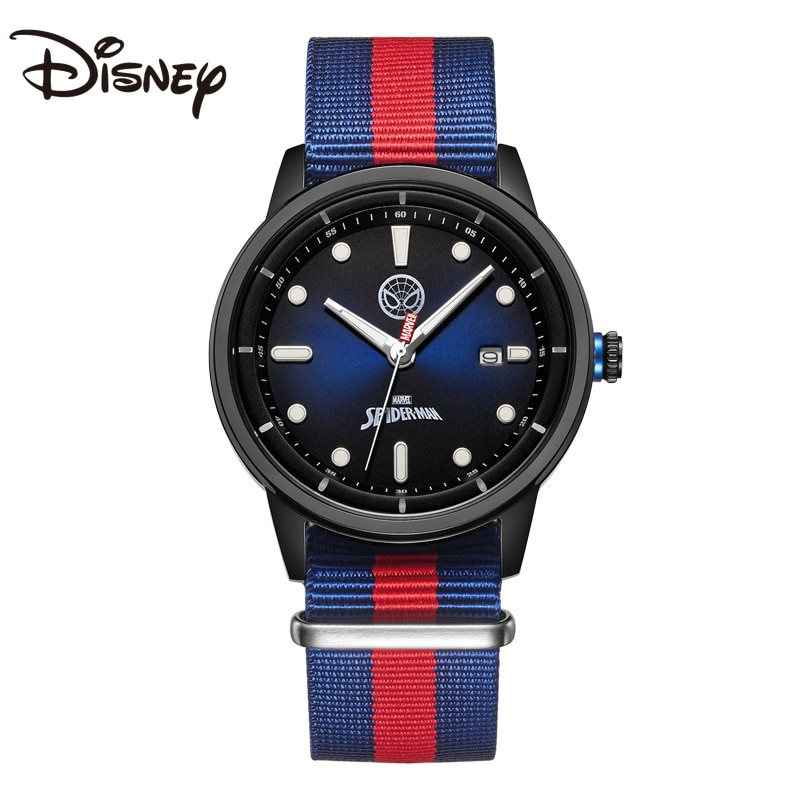 Disney Men's Watch Luminous Quartz Watch Captain America Canvas Belt Casual Trendy Waterproof Watch Relojes Para Mujer