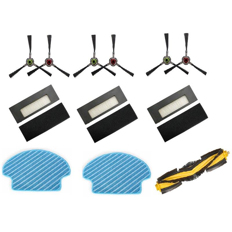 Wielu zestaw wymiana części zamiennych do ścierka do mopa szczotka boczna filtr HEPA główne szczotki dla Ecovacs DEEBOT DE55 DE6G odkurzacz robot