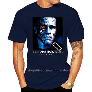 Terminator Destino Escuro Filme  Schwarzenegger T-800 Modelo 101 Camiseta Preto 2021 Leisure Fashion T-shirt 100% Cotton