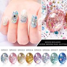 1 caja de copos de brillantina para uñas brillante 3D hexagonal lentejuelas coloridas lentejuelas polaco manicura uñas decoración de arte