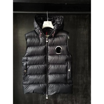 High Quality Hooded Down Vest hat Winter Sleeveless Jacket Men  Vest Men's Warm Thick Hooded Coats Male  Waistcoat