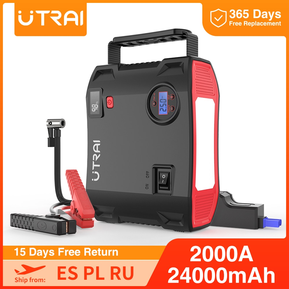 UTRAI Jump Starter 4 in 1 Pump Air Compressor 2000A 24000mAh Power Bank 12V Digital Tire Inflator 150PSI Emergency Battery Boost