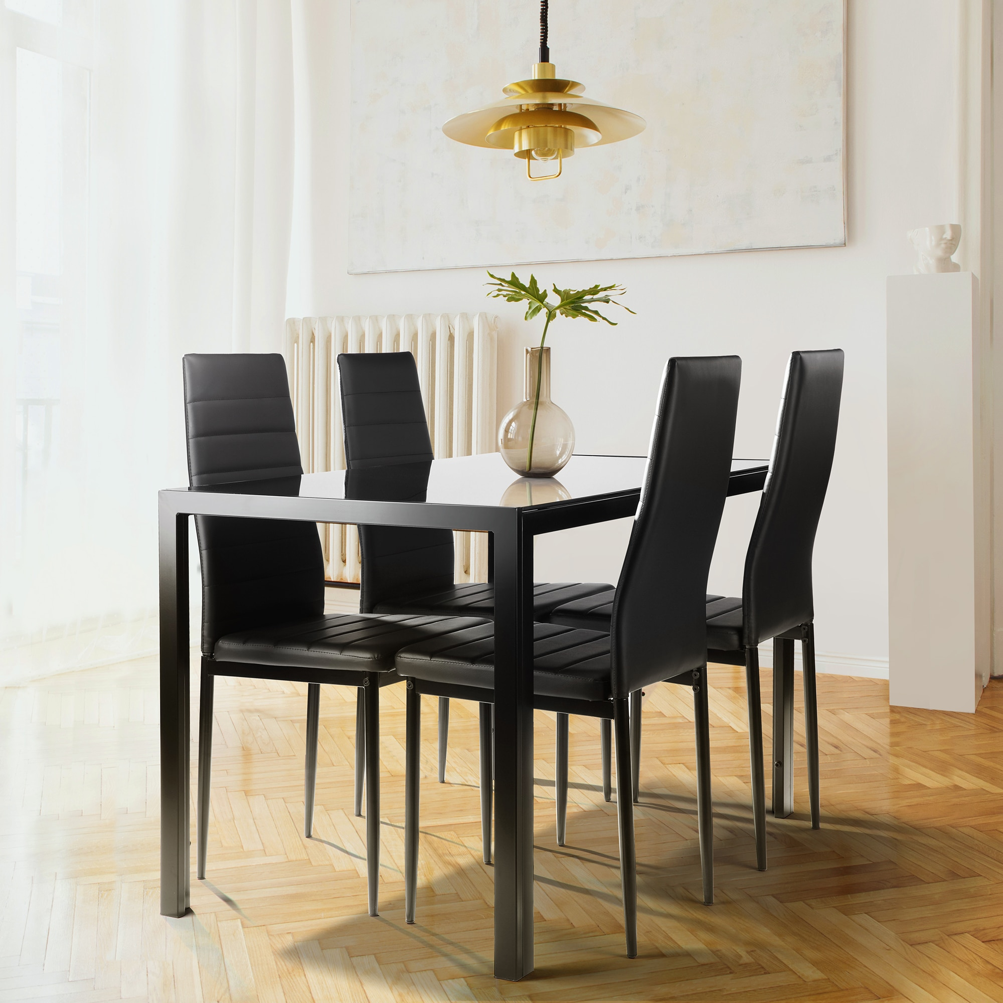 غرفة المطبخ خفف طاولة عشاء زجاجية ، 5 قطع طقم طاولة عشاء ل 4,4 كراسي جلدية فو ، أسود