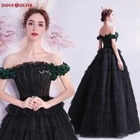 black off the shoulder prom dresses 2020 elegant ruffles formal party long robe de soiree crystal evening gowns vestido festa
