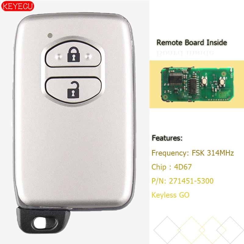KEYECU 4D67 2 Botão FSK 314MHz Chave Inteligente para Toyota Vitz Prius Corolla Axio Do Aqua-271451-5300