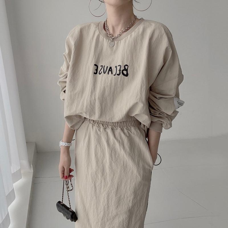 Женский костюм с юбкой в Корейском стиле на раннюю осень, универсальный свободный тонкий свитер с буквенным принтом, повседневная юбка с вы...