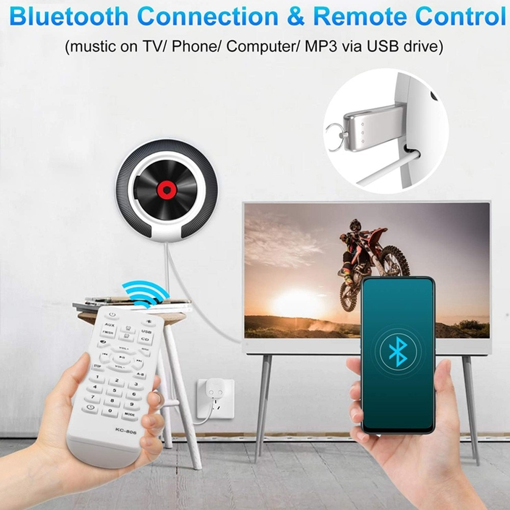 Portable CD Player with Bluetooth Wall Mountable FM Radio Built-In HiFi Speakers with Remote Control Headphone Jack enlarge