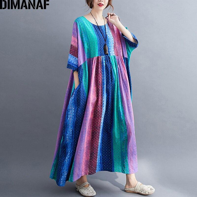 DIMANAF vestido de talla grande con estampado de algodón para mujer, vestido veraniego de Vacaciones, Vestidos holgado y plisado, vestido largo Maxi para mujer, ropa 5XL 6XL