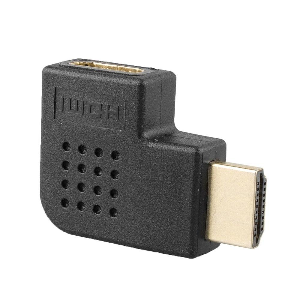 Adaptador HDMI de pequeño tamaño HD 1080P de ángulo recto de 90 grados, convertidor plano hembra a macho, convertidor adaptador de giro izquierdo