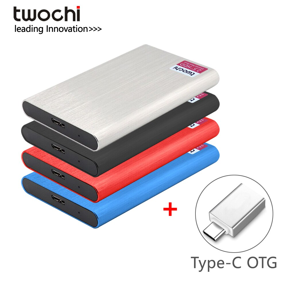 TWOCHI'2.5' Portable External Hard Drive Disk USB3.0 High Speed HDD for PC/Mac,Tablet,TV,Type-C interface Android mobile phone