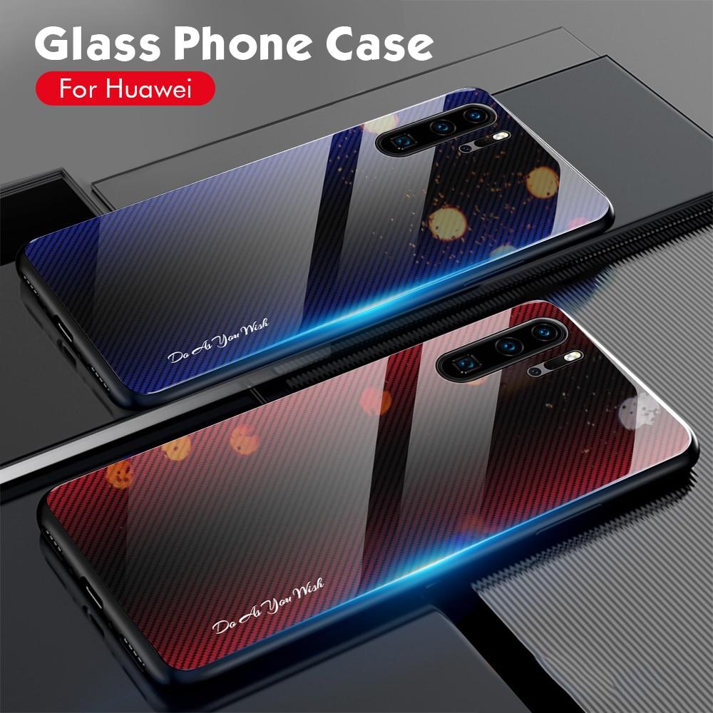 Funda de teléfono de cristal templado brillante a prueba de golpes para Huawei Honor 8X 9X Pro 20 10 Lite 10i 20i funda protectora de cristal duro con marco de TPU