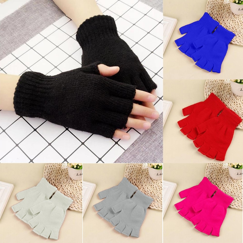 Unisex Winter Glove Mitten Fingerless Knitted Crochet Half-finger Adult Warm Winter Fingerless Glove