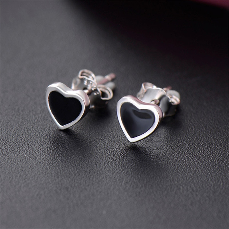 Женские-гипоаллергенные-сережки-гвоздики-из-стерлингового-серебра-925-пробы-с-черной-эмалью-в-форме-сердца-ювелирные-изделия-для-девочек