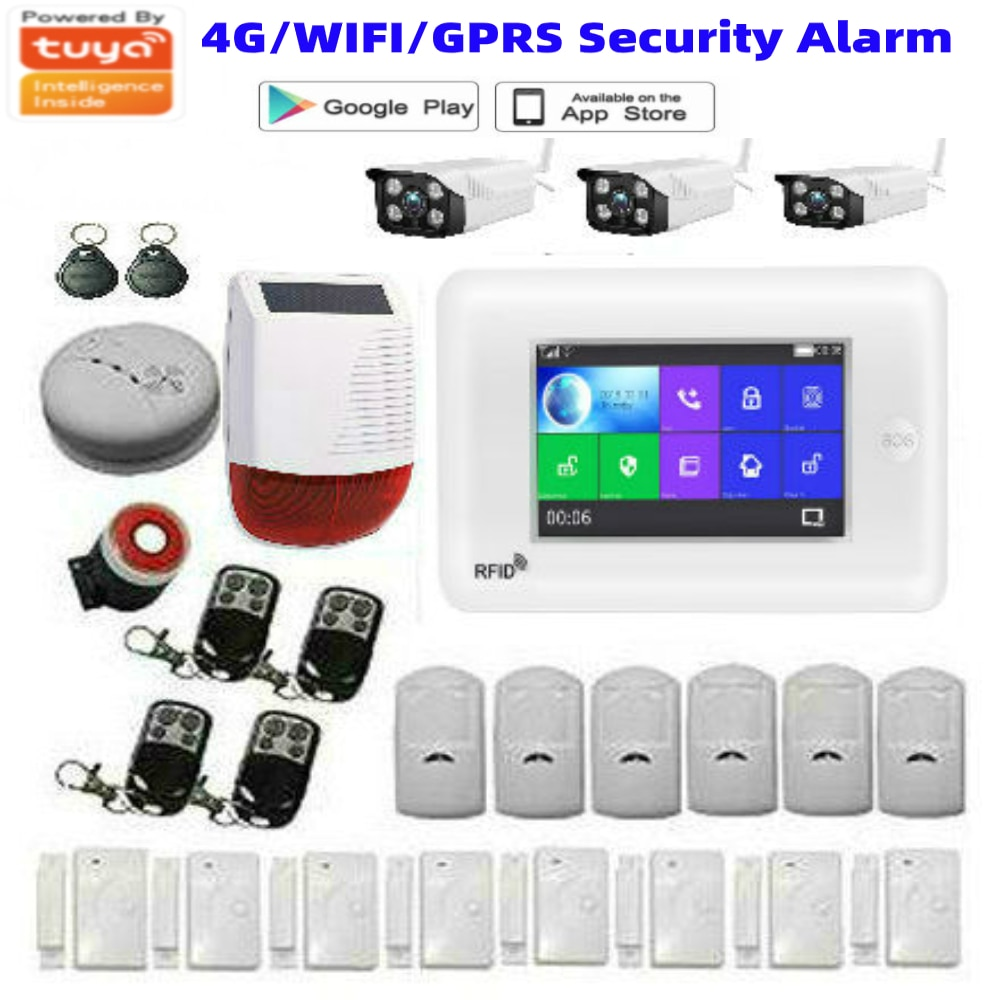 Tuya APP Control 4.3 Inch Touch Screen WIFI 4G Network Wireless SOS Home Burglar Security Alarm System Video IP Camera 4G SIM enlarge