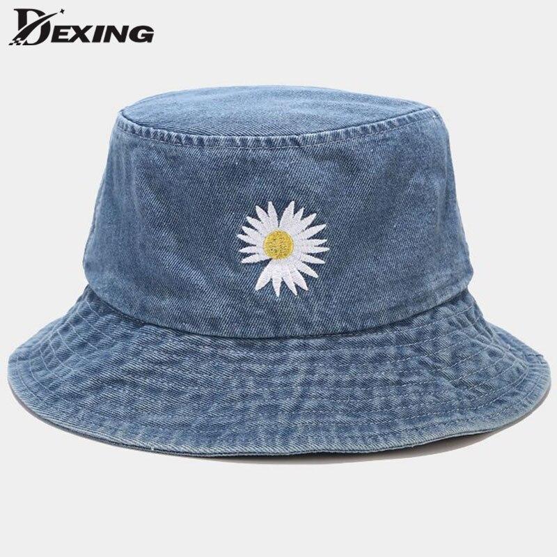 INS Korean Fashion Sun Hat GD Embroidery Daisy Bucket Hat  for Women Men  Summer Panama  Flower Bob Washed Denim Fisherman Hat