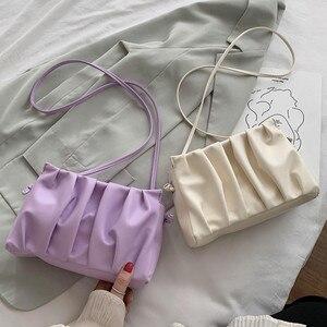 OLUOLIN Fashion Retro Ruched Handbag Women Ins Cloud Bag Simple Versatile Shoulder/Crossbody Bag Cute Pouch Zip Messenger Bag