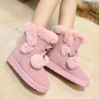 warm fur women snow boots cute suede winter shoes fur ball mid calf boots female fashion boots non slip snow casual shoe