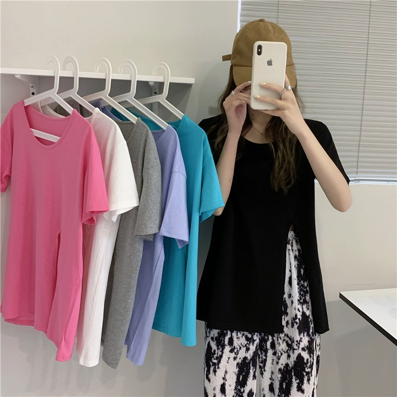 Summer 2021 New Korean Style Sneaky Design Slit Loose Top Pure Color All-Matching Short Sleeve T-shi