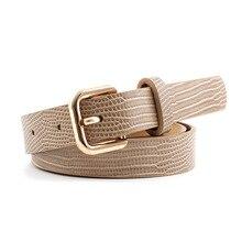Cinturón de piel de serpiente para mujer, patrón de piel de lagarto, textura de piedra, hebilla de pin, pretina de cuero PU de alta calidad para Vestido vaquero p84