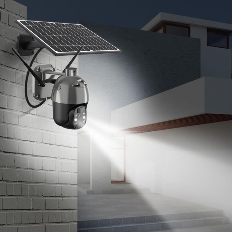 PTZ Solar Wifi Camera IP Security Video Surveillance CCTV 1080P IR Human Detection Outdoor Waterproof  2 Way Audio SD Card Slot