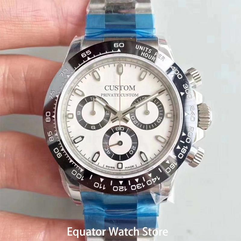40mm relógio de pulso de quartzo masculino multifunções relógios cronógrafo safira aço inoxidável à prova dwaterproof água luminosa
