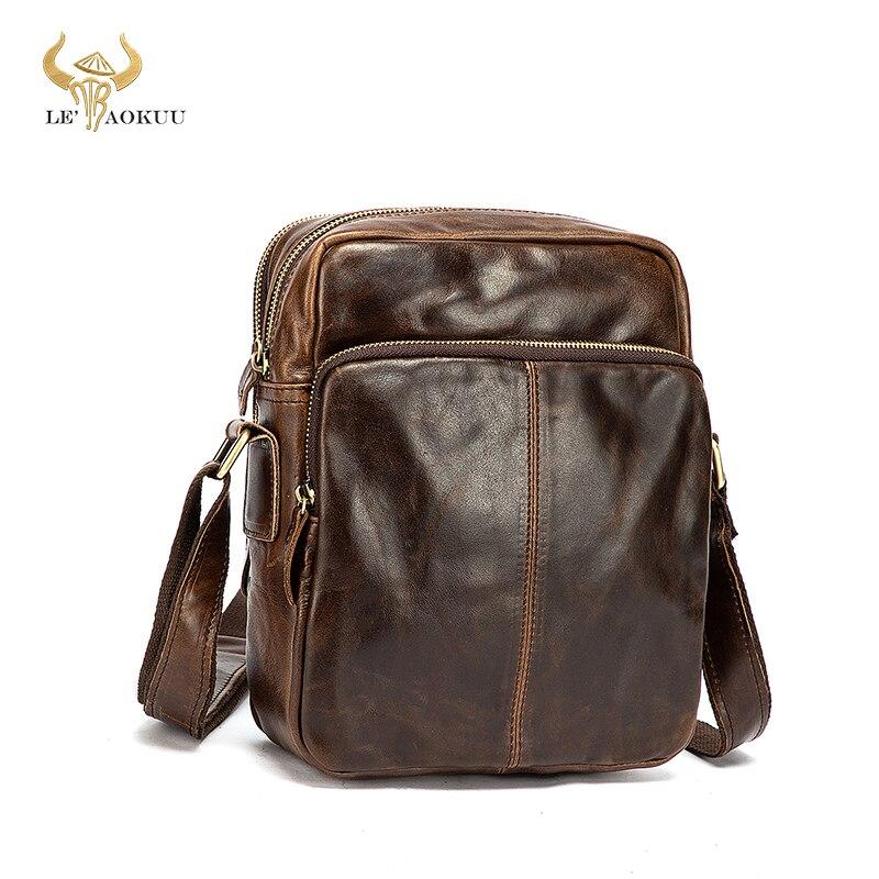 New Oil Wax Leather Male Design Travel College Shoulder Messenger Crossbody bag Vintage Mochila Satc